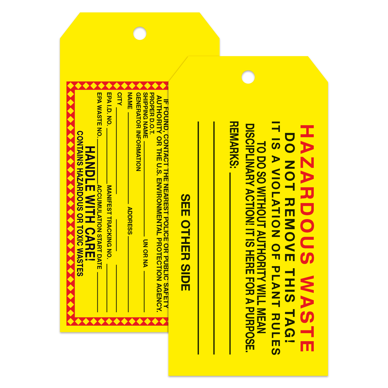 Custom Tear Resistant Tags - Notched Corners (as low as  37 each)