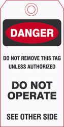 Waterproof vinyl safety tag Side #1