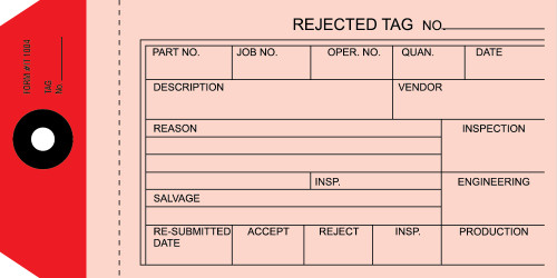 2 Part Reject Tags