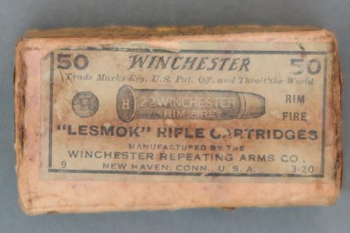 Winchester 22 Win Rim Fire Lesmoke Rifle Cartridges Top