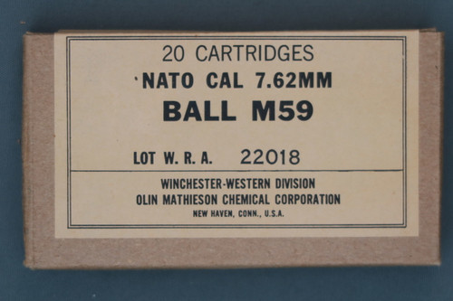 20 Cartridges Nato Cal 7.62MM Ball M56 Lot WRA 22018