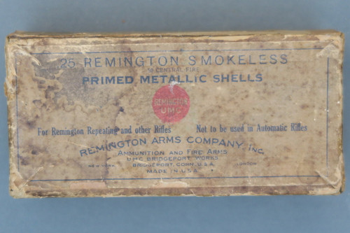 .25 Remington Smokeless Primed Metallic Shells Box Top