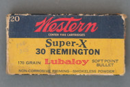 Western Super-X 30 Remington 170 Grain Lubaloy Soft Point Bullet Cartridges Front