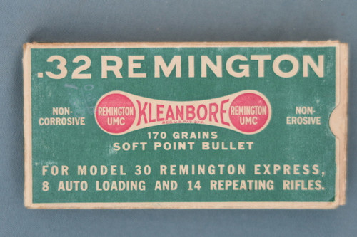 .32 Remington Kleanbore 170 Grains Soft Point Bullets in Pre-Code Box Front