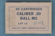 20 Cartridges Caliber .30 Ball M2 Lot LC 42664