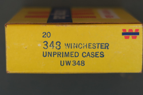 348 Winchester Unprimed Cases Box Right End