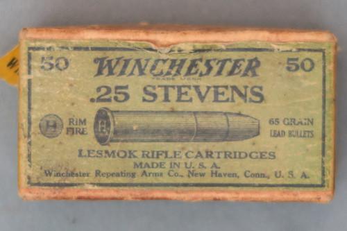 Winchester 25 Stevens Lesmok Rifle Cartridges Top