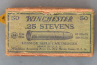 Winchester 25 Stevens Lesmok Rifle Cartridges Top