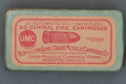 .32 Automatic Colt Smokeless Central Fire Cartridges Box Top