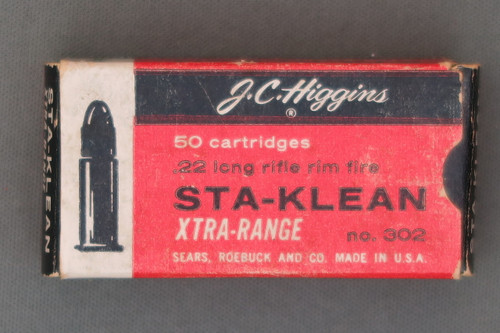 J. C. Higgins Sta-Klean Xtra-Range 22 Long Rifle Rim Fire Cartridges Top