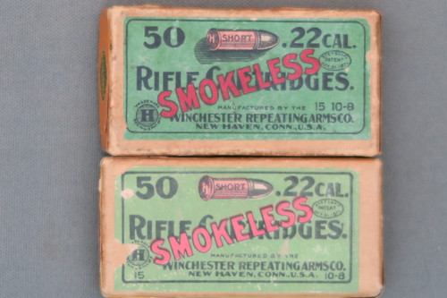 Winchester 22 Short Smokelesss Rifle Cartridges, Two Boxes
