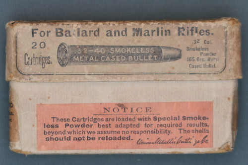 32-40 Smokeless Central Fire Cartridges For Ballard and Marlin Rifles, Front Side