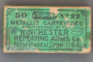 50 Short No. 22 Metallic Cartridges by Winchester, Top