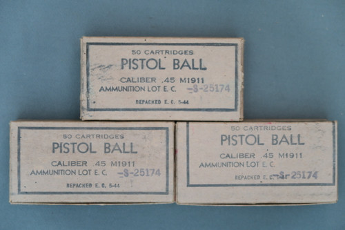 3 Boxes of 50 Cartridges Pistol Ball Caliber .45 M1911 Ammunition Lot E.C.-S-25174