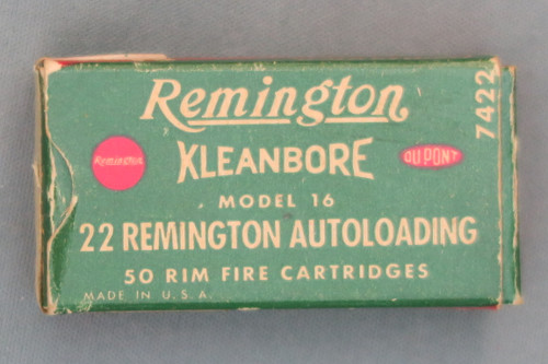 22 Remington Autoloading Cartridges for the Model 16, Top