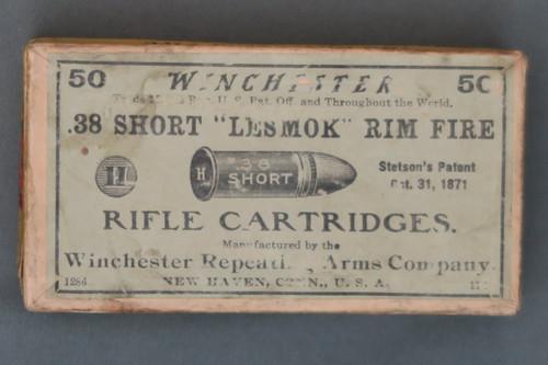 "Winchester .38 Short ""Lesmok"" Rim Fire Rifle Cartridges, Top"