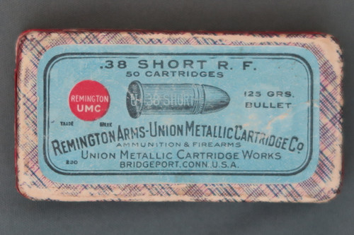 .38 Short R. F. 50 Cartridges Remington Arms Union Metallic Cartridge Co., Top
