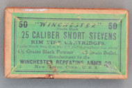 Winchester .25 Caliber Short Stevens Rim Fire Cartridges, 10-11, Top