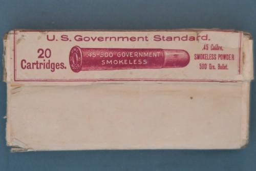 Twenty .45-500 Gov't. Smokeless Central Fire Cartridges by UMC Co., Front