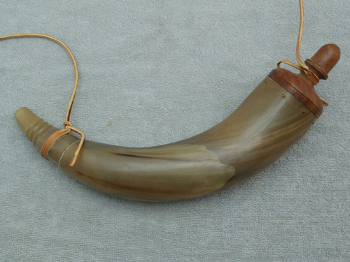 Powder Horn with Acorn Finial on Turned Plug Left Side