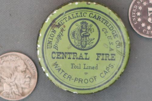 Union Metallic Cartridge Co. Central Fire Foil Lined Waterproof Caps Tin