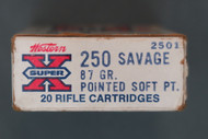 250 Savage 87 Grain Pointed Soft Point Cartridges, Box End