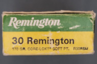 30 Remington Hunting Ammo, Box End