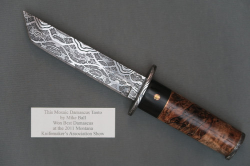 Mike Ball Mosaic Damascus Tanto, Left Side
