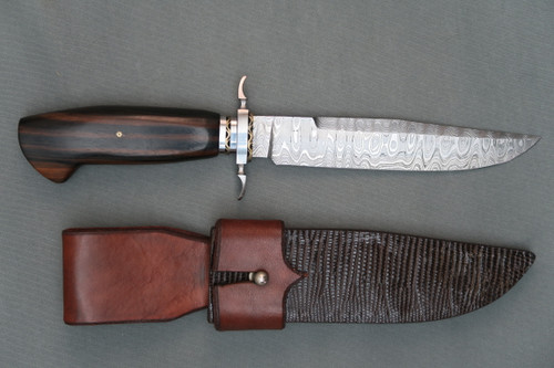 Todd Kopp Damascus Bowie With Sheath, Right Side