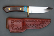 Ron Rosenbaugh Turquoise and Bocote Wood Gripped Hunting Knife, Right Side
