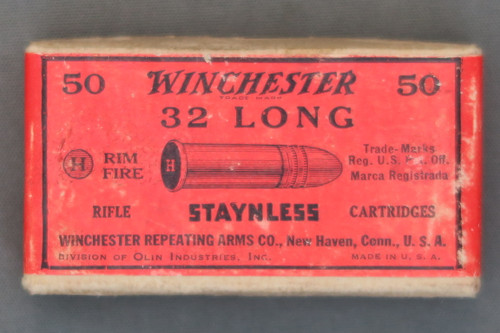 Winchester 32 Long Rim Fire Staynless Rifle Cartridges Sealed Box, Top