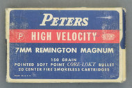 Peters High Velocity 7MM Remington Magnum Cartridges, Top