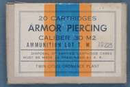 20 Cartridges Armor Piercing Caliber .30 M2 Twin Cities Ordnance Plant, Front