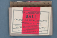 20 Cartridges Ball Caliber .30 M2 Alternative By St. Louis Ordnance Plant