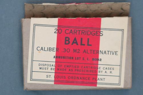 20 Cartridges Ball Caliber .30 M2 Alternative By St. Louis Ordnance Plant