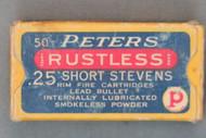 Peters Rustless .25 Short Stevens Cartridges, Top