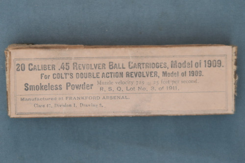 20 Caliber .45 Revolver Ball Cartridges, Model 1909 For Colt's Double Action Revolver, Front