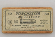 Winchester 22 Short Lesmok Rifle Cartridges Dated 7-20 Top
