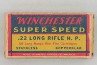 Winchester Super Speed 22 Long Rifle Hollow Point 1939 Issue Top