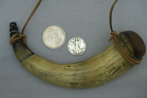 Hand Carved Powder Horn with Map and Patriotic Design View 1