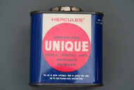 Vintage Hercules Smokeless Unique Rifle, Pistol and Shotgun Powder Can Side 1