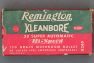 Remington Kleanbore 38 Super Automatic Hi-Speed 130 Grain Mushroom Bullet Cartridges Top