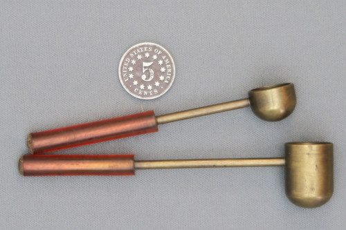 Two Small Brass Powder and Shot Scoops Side View