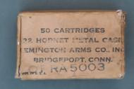 US Air Force/ Remington Arms Co. 22 Hornet Metal Case Ammo