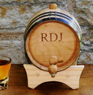 2 Liter Steel-banded Oak Whiskey Barrel Cask
