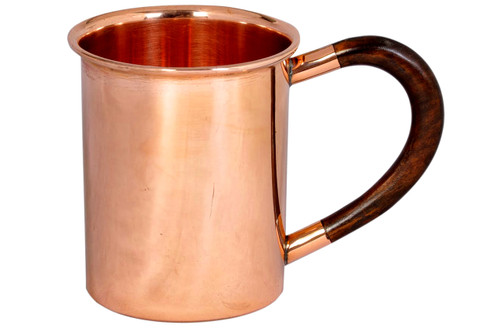12 oz Copper Mug With Wood Handle