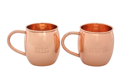 Mr. and Mrs. Mugs Etched Moscow Mule Copper Mugs Set of 2