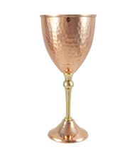 Hammered copper wine glass side view