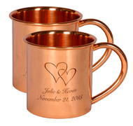 Set of 2 Engraved Copper Mugs