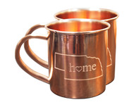 Nebraska Home Copper Mugs - Set of 2 14 oz Mugs